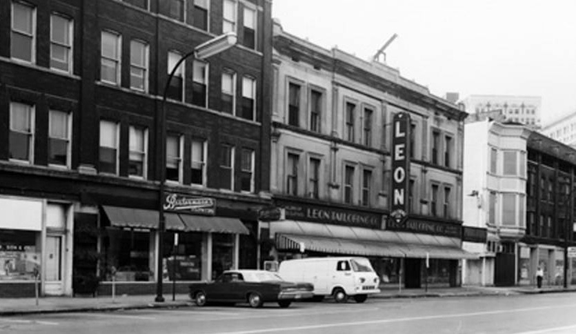 The above Sanborn image and historic photo highlight the block of Massachusetts Avenue where Wilking Music was founded. The storefront would have been in the Bradford building just to the right of the familiar Leon Tailoring although later ads indicated the address at the Ohio Street frontage. (Courtesy Bass Photo Company Collection, Indiana Historical Society and Indiana University)
