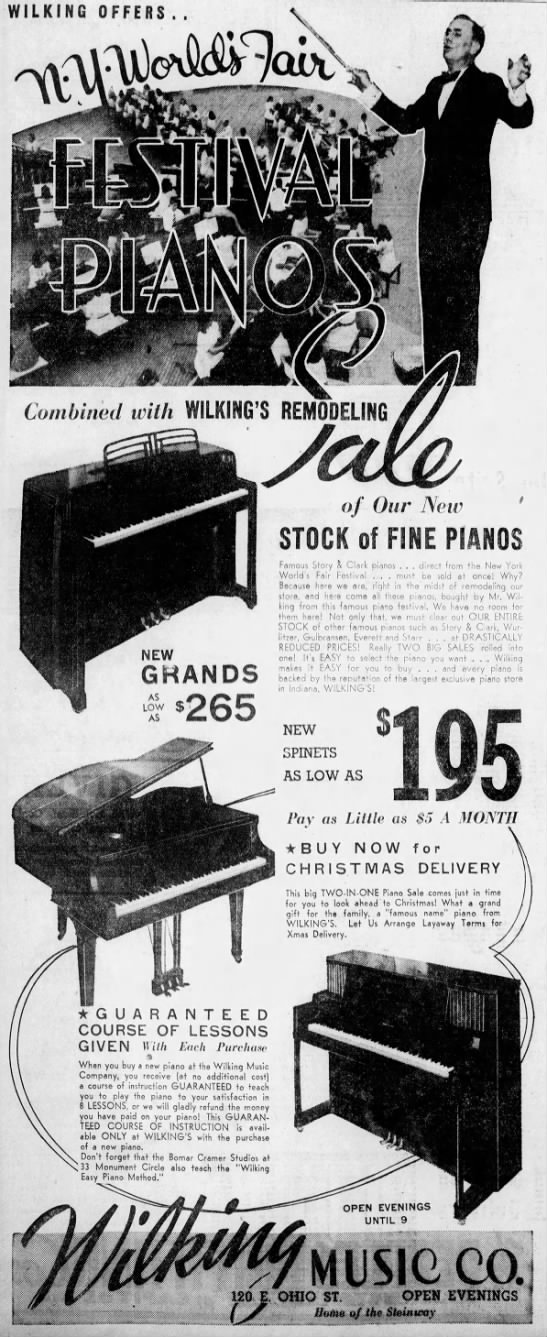 The Wilking Music Company looks to drum up sales in October of 1940. (Courtesy Indiana State Library)