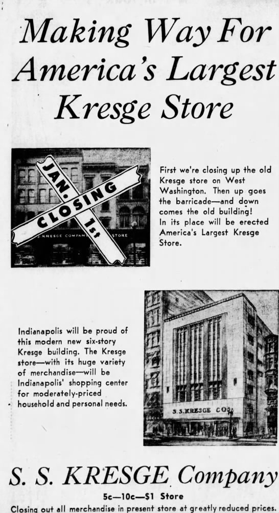 This ad from 1948 shows what shoppers can expect when the old buildings along east Washington Street are demolished and replaced with a massive new six story Kresge store.(Courtesy Indiana State Library)