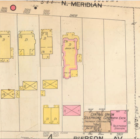 1898 Sanborn map showing the footprint of 2408 N. Meridian St. (image: IUPUI Digital Library)