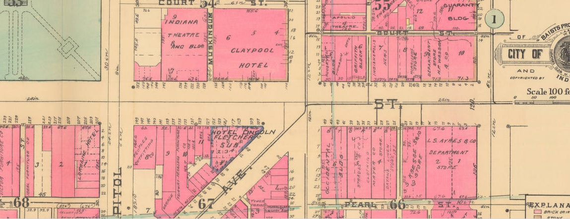 This 1941 Baist Map shows People's Outfitting on the corner of Washington and Capitol. The Hyatt Regency has overtaken this entire block. (Courtesy IUPUI Library)