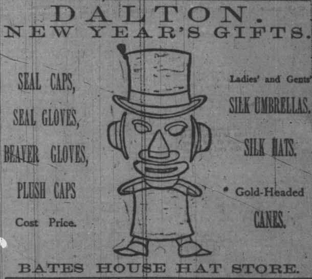813d3612464777 bates house hat shop ad 1890jan4 - Historic Indianapolis | All Things  Indianapolis History